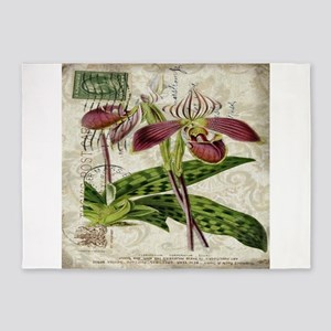 vintage orchid french botanical 5'x7'Area Rug